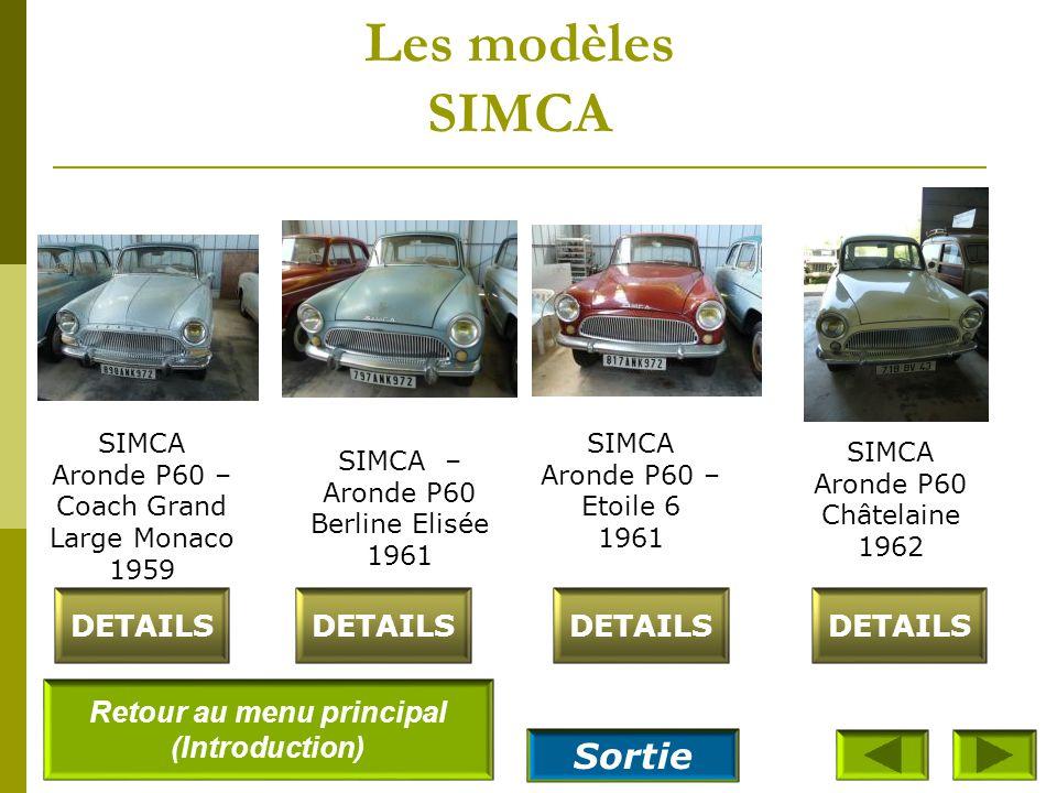 Les modèles SIMCA SIMCA Aronde P60 – Intendante 1961 DETAILS SIMCA Vedette Régence 1956 SIMCA Aronde cabriolet Océane 1961 DETAILS SIMCA Vedette Versa