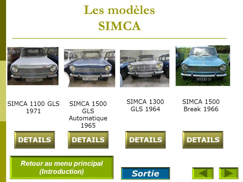 Les modèles SIMCA SIMCA Aronde P60 – Etoile 6 1961 DETAILS SIMCA – Aronde P60 Berline Elisée 1961 SIMCA Aronde P60 Châtelaine 1962 DETAILS SIMCA Arond