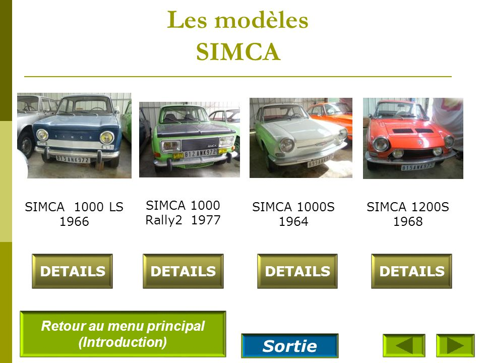 Les modèles SIMCA SIMCA 1300 GLS 1964 DETAILS SIMCA 1500 GLS Automatique 1965 SIMCA 1500 Break 1966 DETAILS SIMCA 1100 GLS 1971 Retour au menu princip