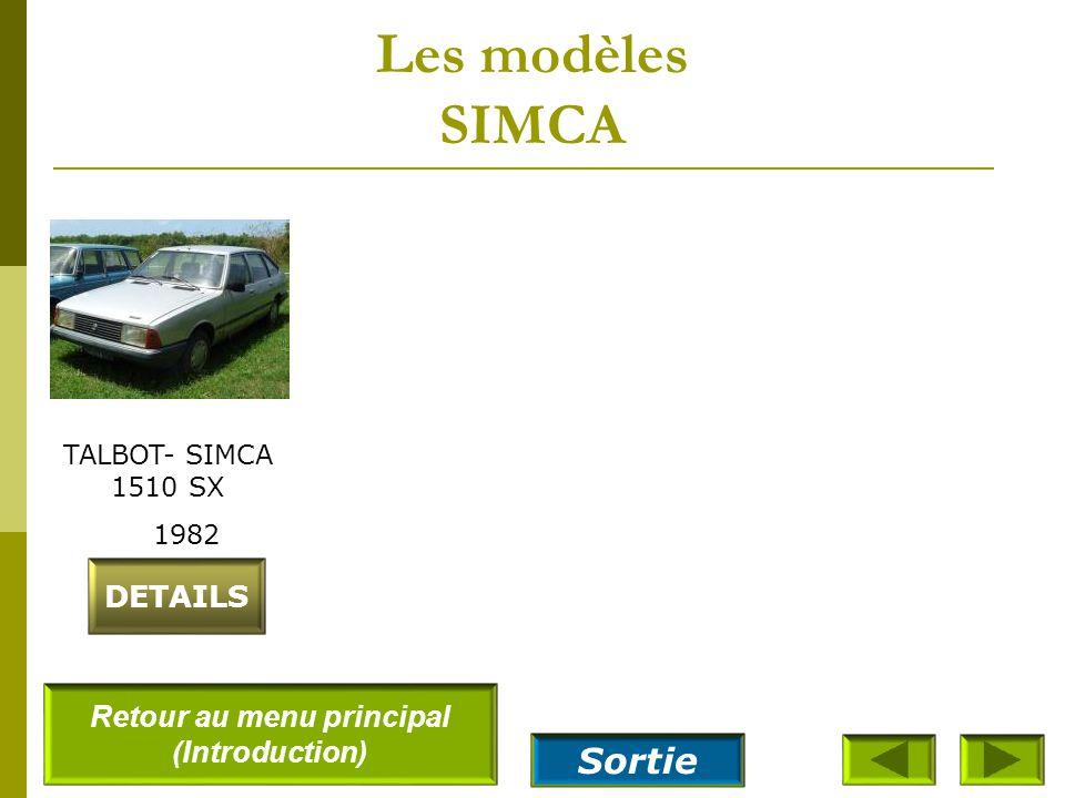 Les modèles SIMCA SIMCA 1000S 1964 DETAILS SIMCA 1000 Rally2 1977 SIMCA 1200S 1968 DETAILS SIMCA 1000 LS 1966 Retour au menu principal (Introduction)