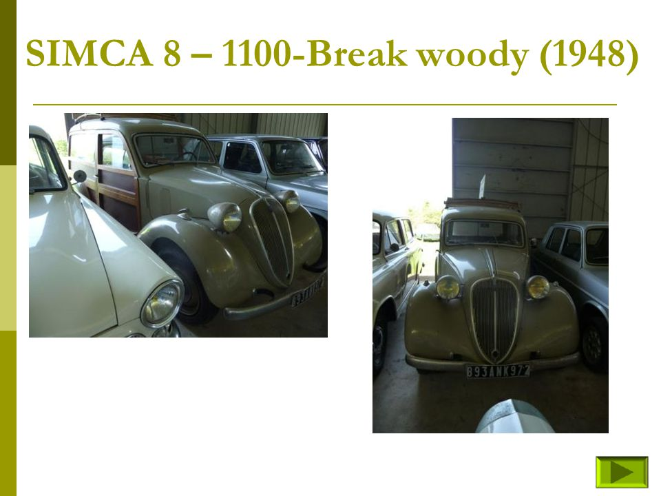 SIMCA 8 – Cabriolet sport (fin) Retour