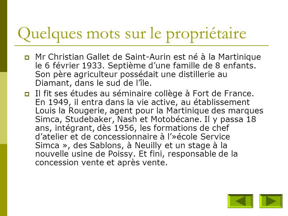 Propriétaire du musée :  Mr Christian Gallet de Saint-Aurin Quartier Dizac 97 223 Le Diamant (Martinique)  Musée crée en 1993  Collection de plus d