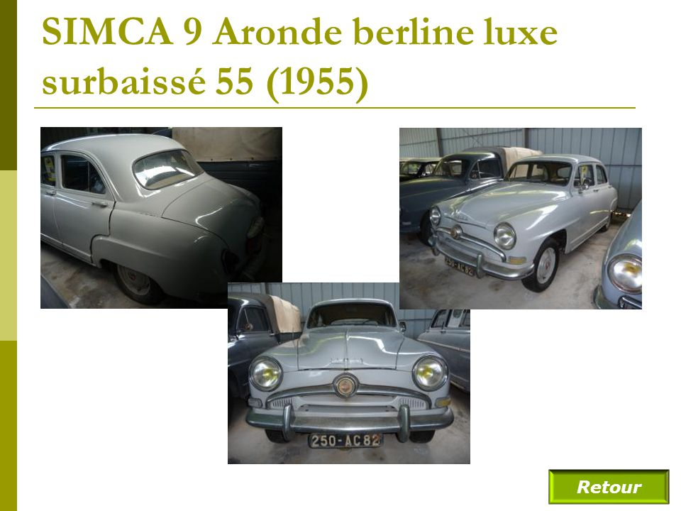 SIMCA 9 Aronde berline (fin) Retour