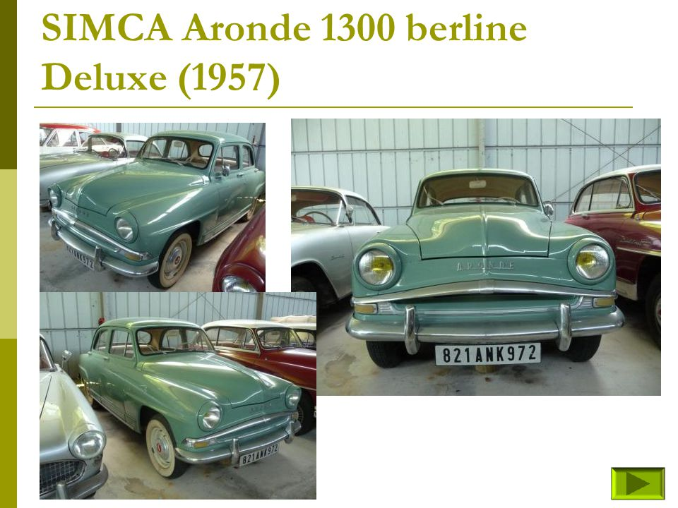 SIMCA Aronde 1300 berline Grand Large-spécial (fin) Retour