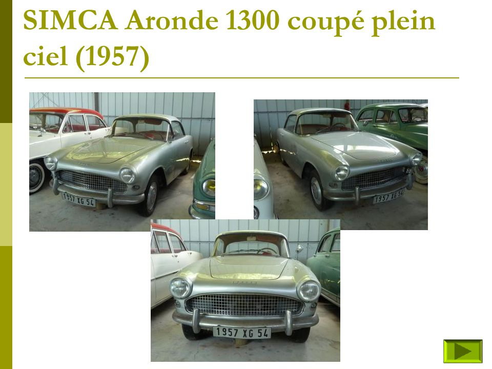 SIMCA Aronde 1300 berline Deluxe (fin) Retour