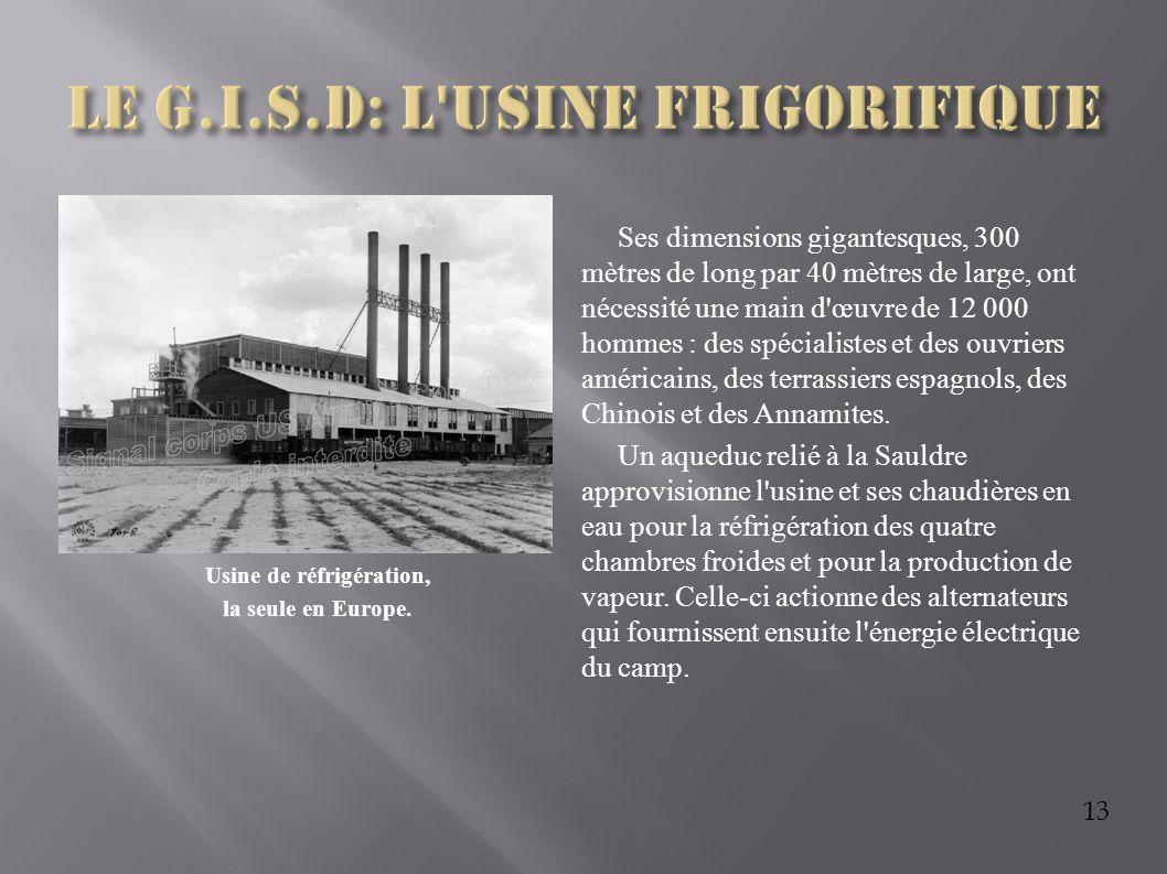 13 Usine de réfrigération, la seule en Europe. Ses dimensions gigantesques, 300 mètres de long par 40 mètres de large, ont nécessité une main d'œuvre