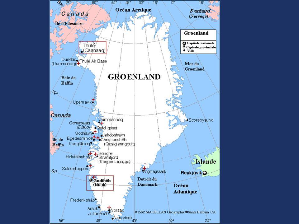 22.02.2010 Le Groenland La plus grande île de la planète 2400 km du nord au sud 1000 k dans sa plus grande largeur 4 fois la France 56 000 habitants dont 10% étrangers 2 e calotte glaciaire de la planète (inlandsis): 2135 m altitude moyenne = 8% eau douce surface du globe