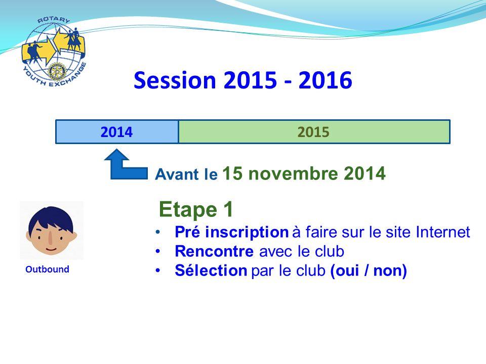 20142015 Session 2015 - 2016 Avant le 15 novembre 2014 Etape 1 Pré inscription à faire sur le site Internet Rencontre avec le club Sélection par le club (oui / non) Outbound