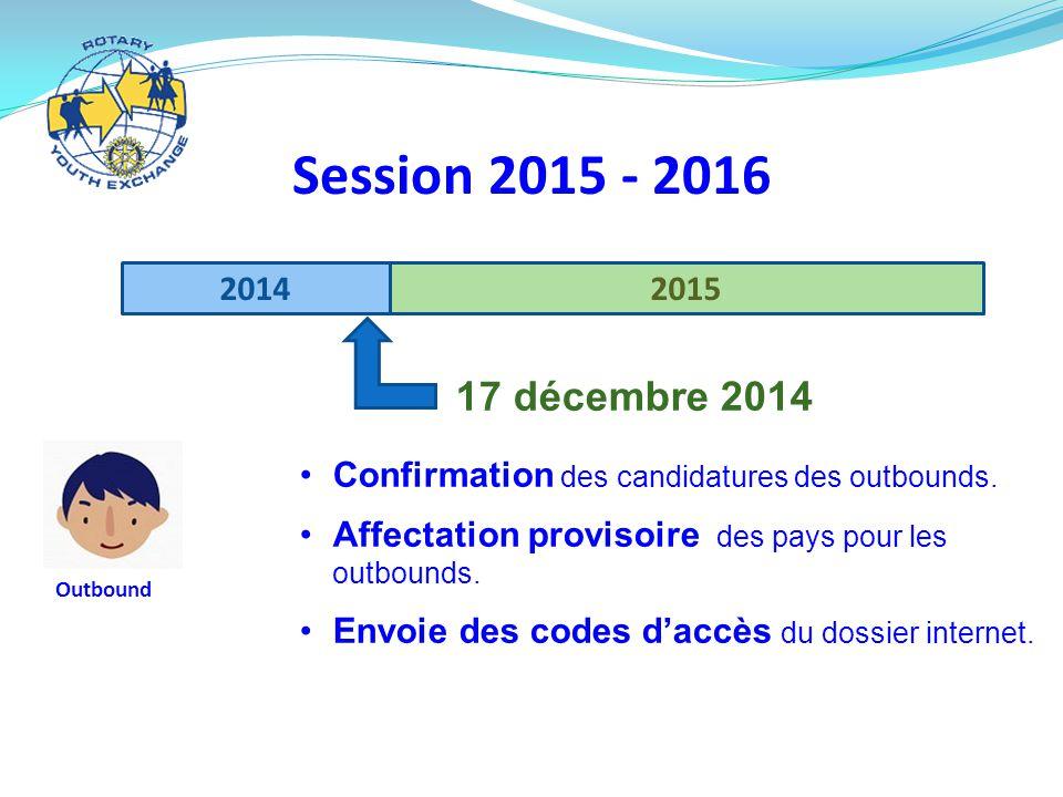 20142015 Session 2015 - 2016 Outbound 17 décembre 2014 Confirmation des candidatures des outbounds.