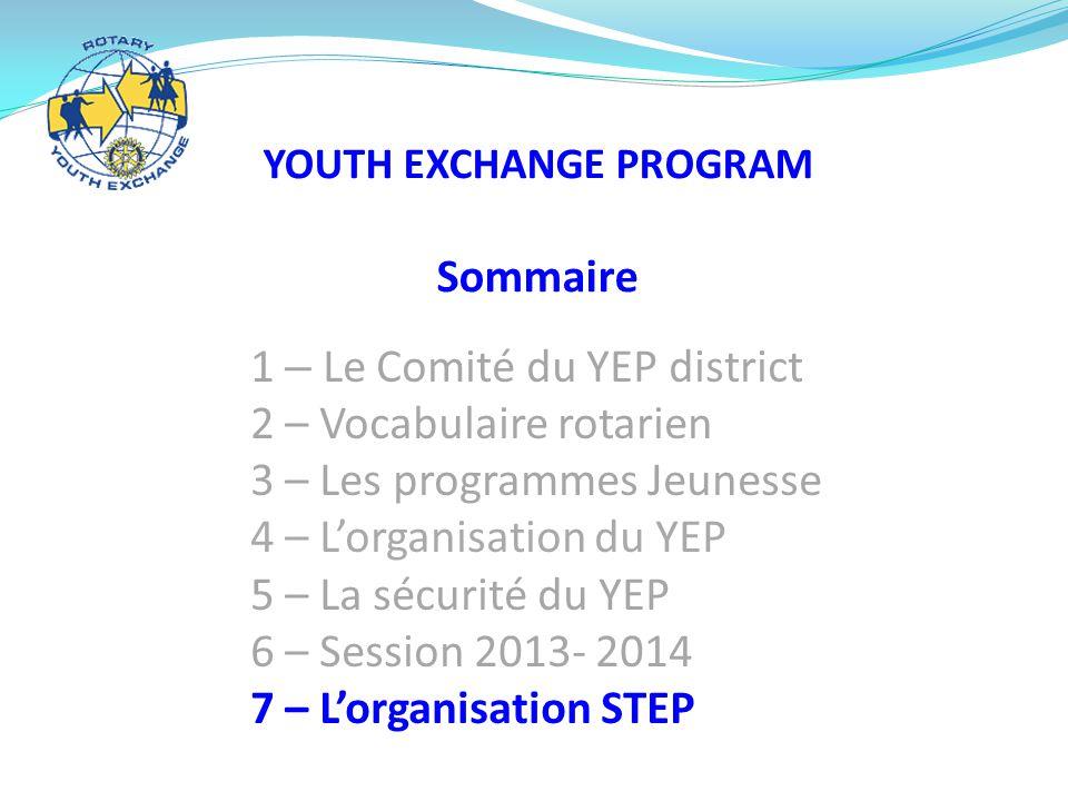 YOUTH EXCHANGE PROGRAM Sommaire 1 – Le Comité du YEP district 2 – Vocabulaire rotarien 3 – Les programmes Jeunesse 4 – L'organisation du YEP 5 – La sécurité du YEP 6 – Session 2013- 2014 7 – L'organisation STEP