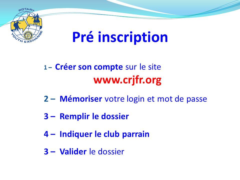 Pré inscription 1 – Créer son compte sur le site www.crjfr.org 2 – Mémoriser votre login et mot de passe 3 – Remplir le dossier 4 – Indiquer le club parrain 3 – Valider le dossier