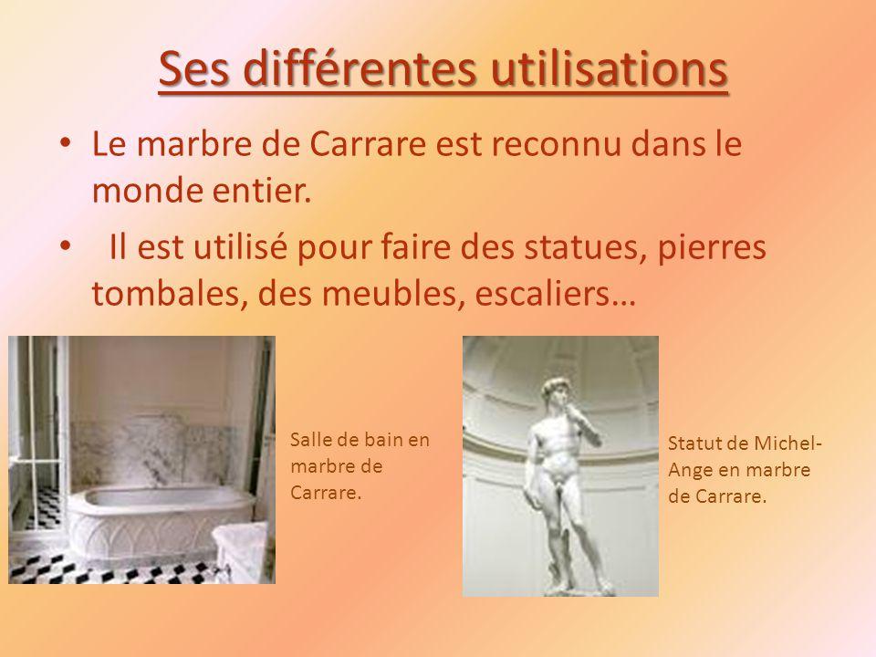 Ses différentes utilisations Le marbre de Carrare est reconnu dans le monde entier.