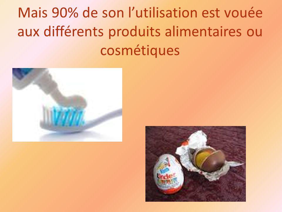 Mais 90% de son l'utilisation est vouée aux différents produits alimentaires ou cosmétiques
