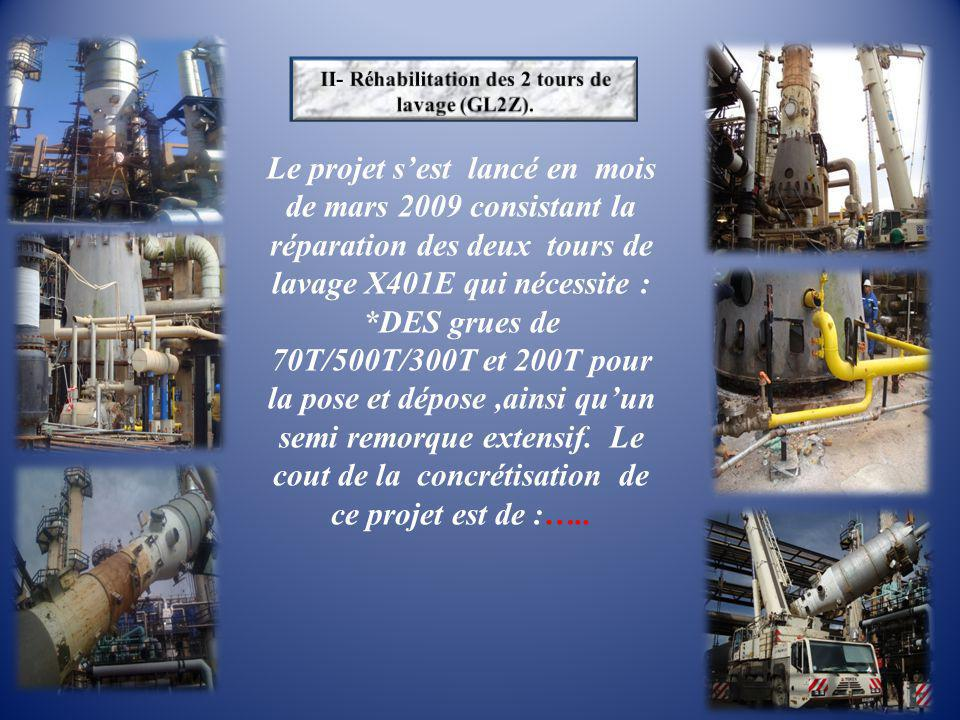 Le projet s'est lancé en mois de mars 2009 consistant la réparation des deux tours de lavage X401E qui nécessite : *DES grues de 70T/500T/300T et 200T