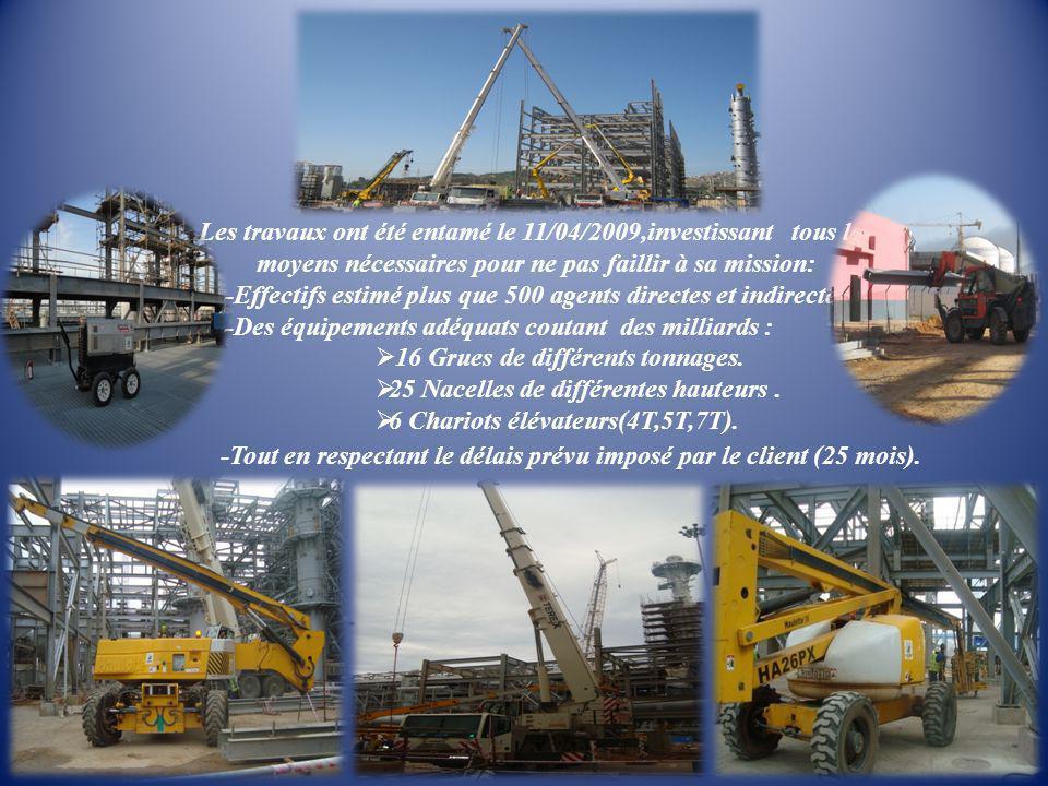 Les travaux ont été entamé le 11/04/2009,investissant tous les moyens nécessaires pour ne pas faillir à sa mission: -Effectifs estimé plus que 500 age