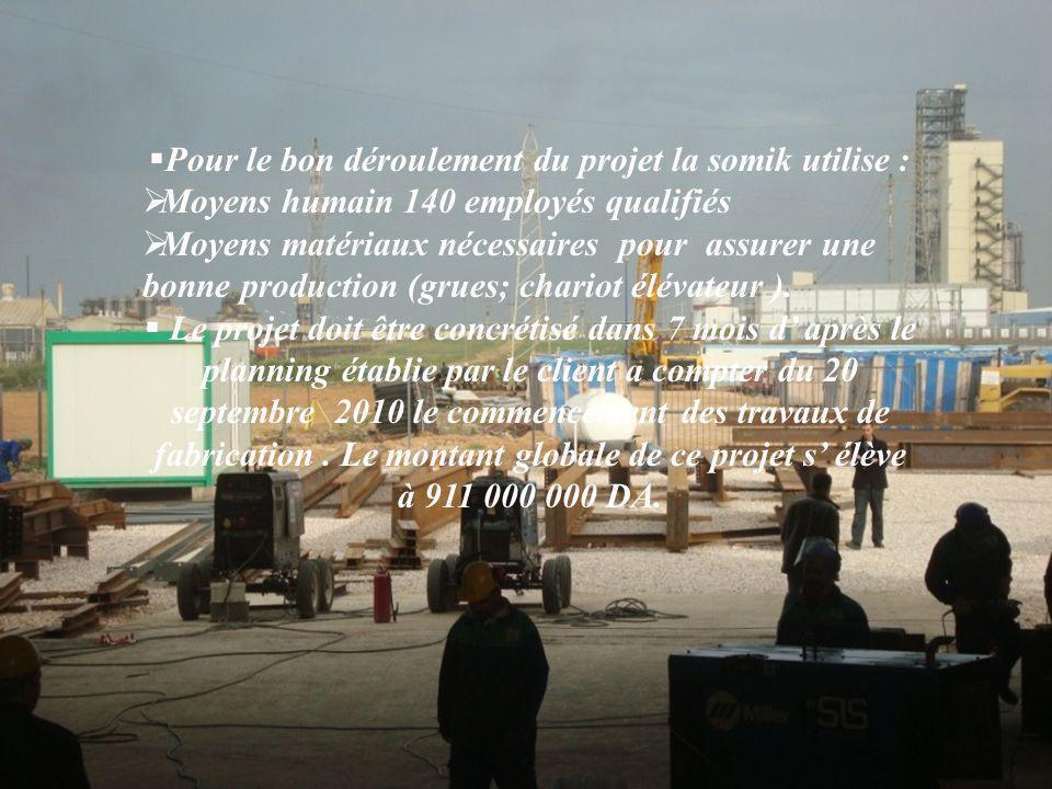  Pour le bon déroulement du projet la somik utilise :  Moyens humain 140 employés qualifiés  Moyens matériaux nécessaires pour assurer une bonne production (grues; chariot élévateur ).