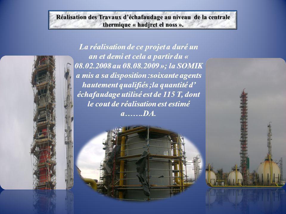 La réalisation de ce projet a duré un an et demi et cela a partir du « 08.02.2008 au 08.08.2009 »; la SOMIK a mis a sa disposition :soixante agents ha