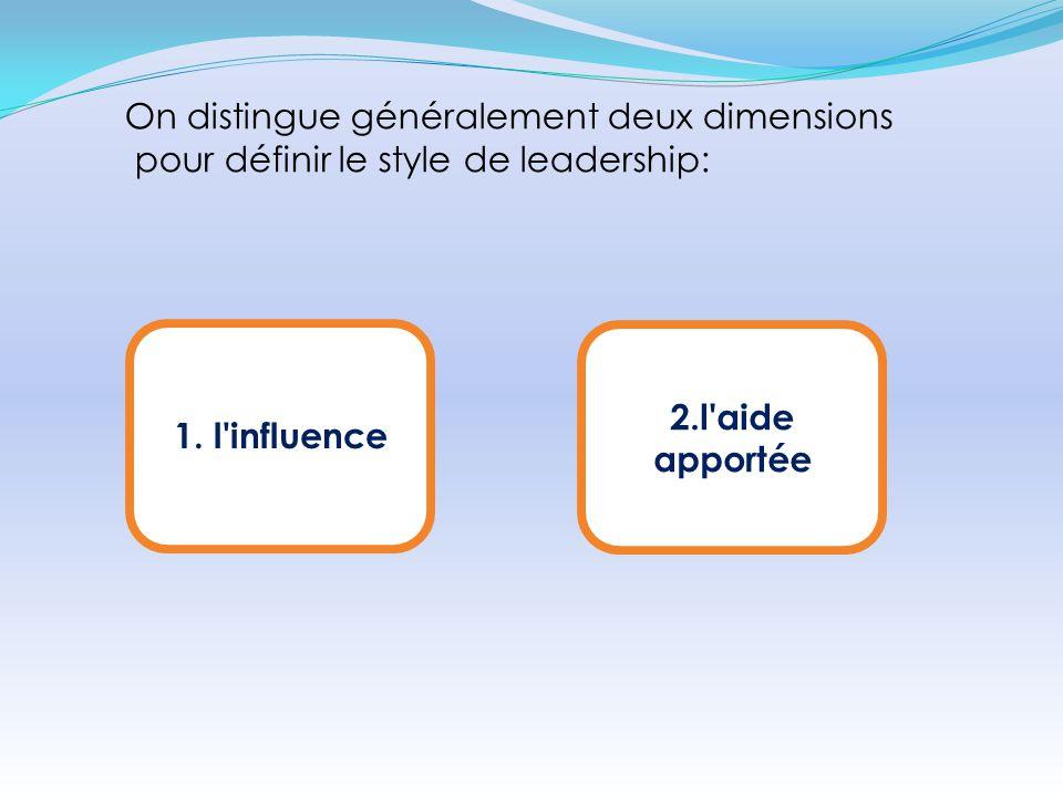1. l'influence On distingue généralement deux dimensions pour définir le style de leadership: 2.l'aide apportée