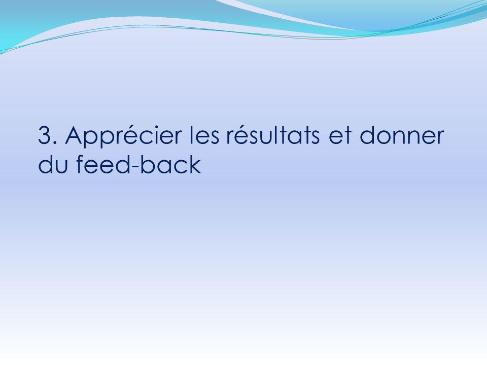 3. Apprécier les résultats et donner du feed-back
