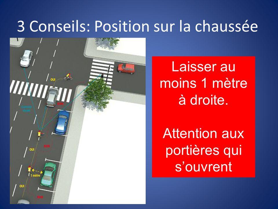 3 Conseils: Position sur la chaussée Laisser au moins 1 mètre à droite.