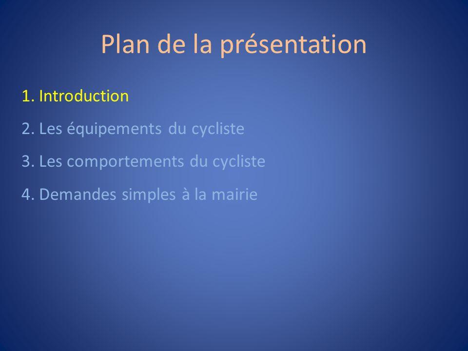 1 Introduction Les gens qui sortent de telles excuses ne sont pas prêtes à faire du vélo, donc il ne sert à rien de les convaincre.
