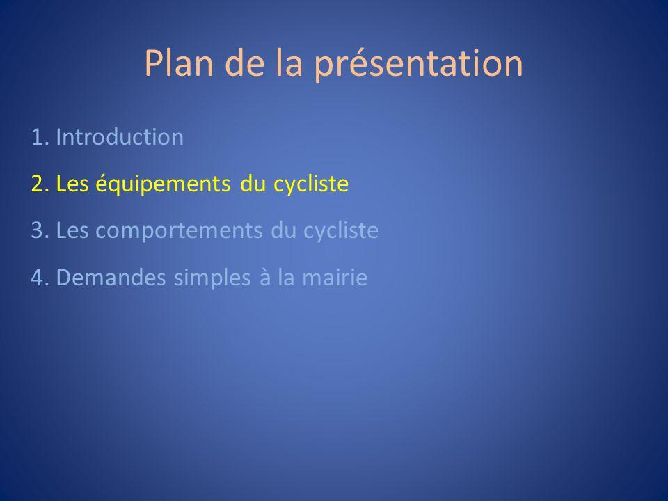 Plan de la présentation 1.Introduction 2.Les équipements du cycliste 3.Les comportements du cycliste 4.Demandes simples à la mairie