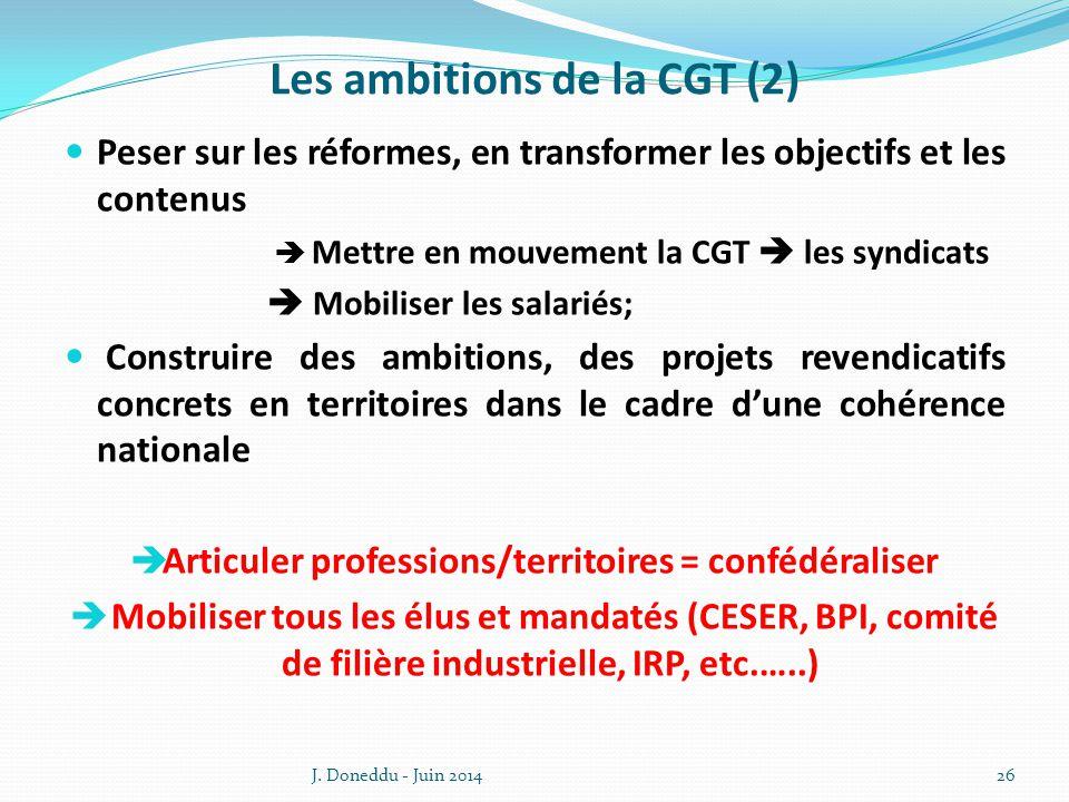 Les ambitions de la CGT (2) Peser sur les réformes, en transformer les objectifs et les contenus  Mettre en mouvement la CGT  les syndicats  Mobiliser les salariés; Construire des ambitions, des projets revendicatifs concrets en territoires dans le cadre d'une cohérence nationale  Articuler professions/territoires = confédéraliser  Mobiliser tous les élus et mandatés (CESER, BPI, comité de filière industrielle, IRP, etc.…..) J.
