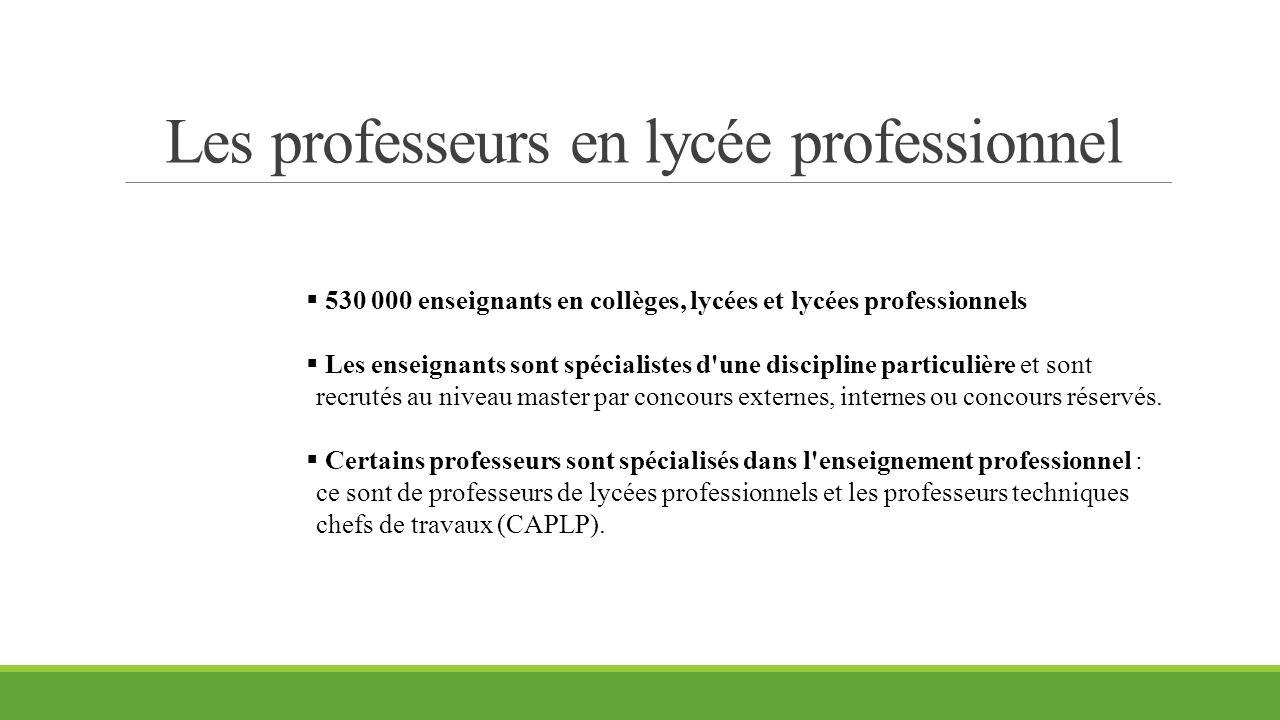 Les professeurs en lycée professionnel  530 000 enseignants en collèges, lycées et lycées professionnels  Les enseignants sont spécialistes d'une di