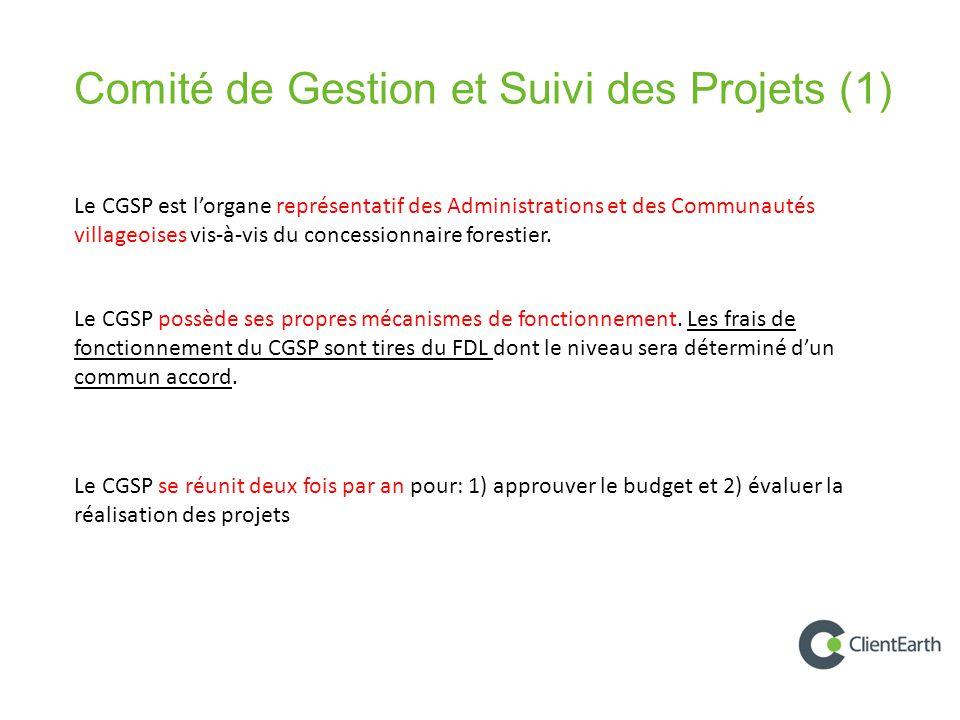 Le CGSP se réunit deux fois par an pour: 1) approuver le budget et 2) évaluer la réalisation des projets Comité de Gestion et Suivi des Projets (1) Le CGSP est l'organe représentatif des Administrations et des Communautés villageoises vis-à-vis du concessionnaire forestier.