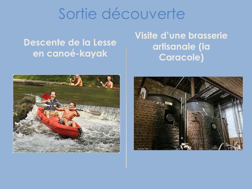 Sortie découverte Descente de la Lesse en canoé-kayak Visite d'une brasserie artisanale (la Caracole)