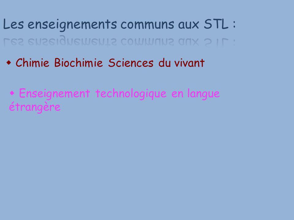  Chimie Biochimie Sciences du vivant  Enseignement technologique en langue étrangère