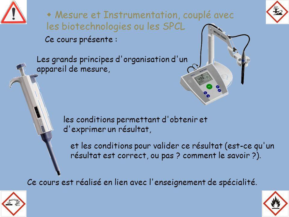  Mesure et Instrumentation, couplé avec les biotechnologies ou les SPCL Ce cours présente : Les grands principes d'organisation d'un appareil de mesu