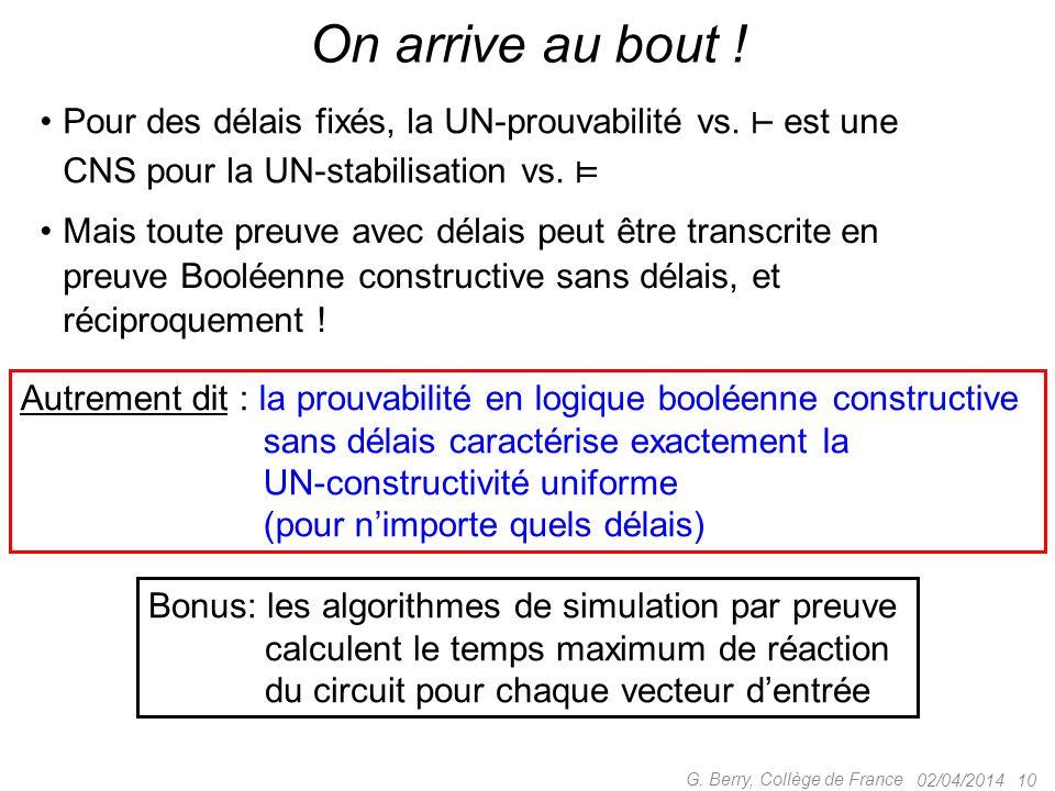Pour des délais fixés, la UN-prouvabilité vs. ⊢ est une CNS pour la UN-stabilisation vs. ⊨ 02/04/201410 G. Berry, Collège de France On arrive au bout
