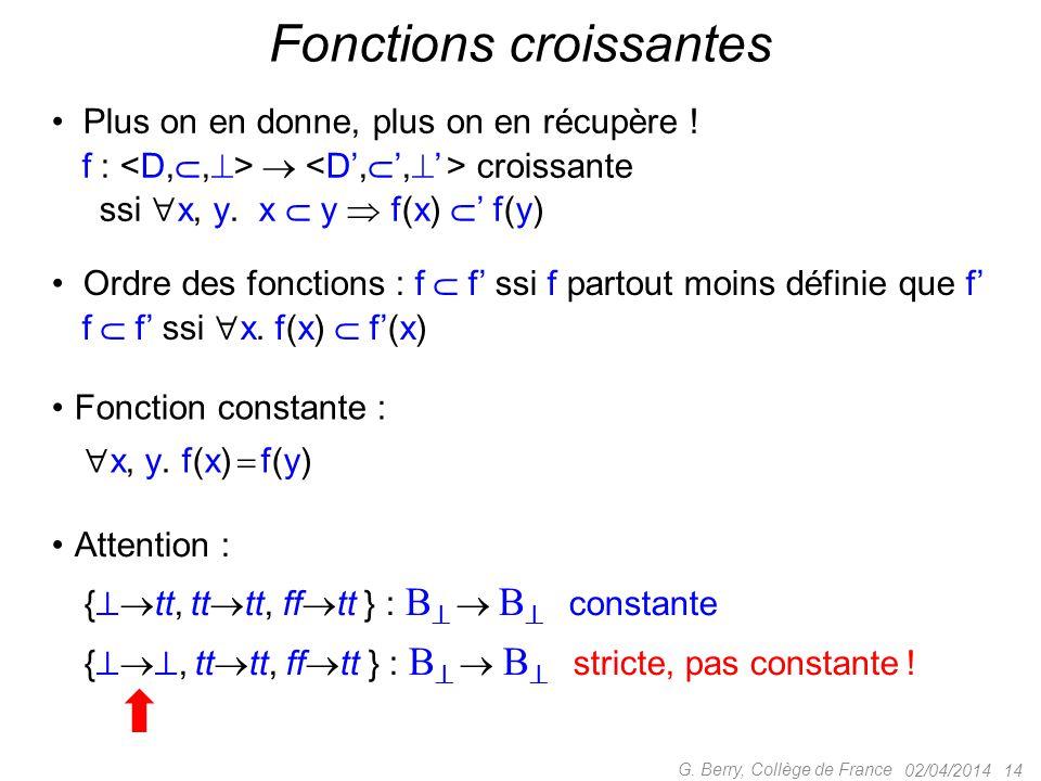 02/04/2014 14 G. Berry, Collège de France Fonctions croissantes Plus on en donne, plus on en récupère ! f :  croissante ssi  x, y. x  y  f(x)  '