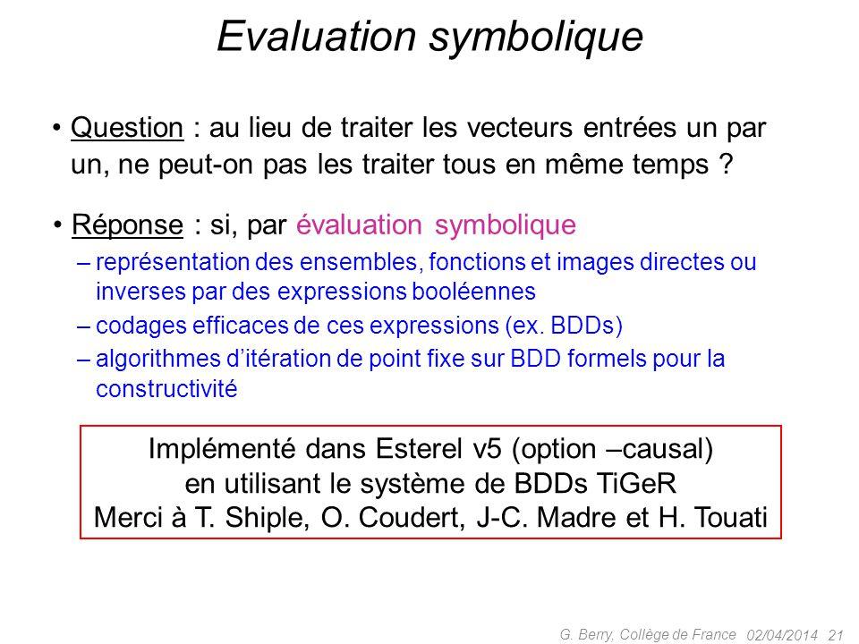 Question : au lieu de traiter les vecteurs entrées un par un, ne peut-on pas les traiter tous en même temps ? 02/04/2014 21 Evaluation symbolique Répo