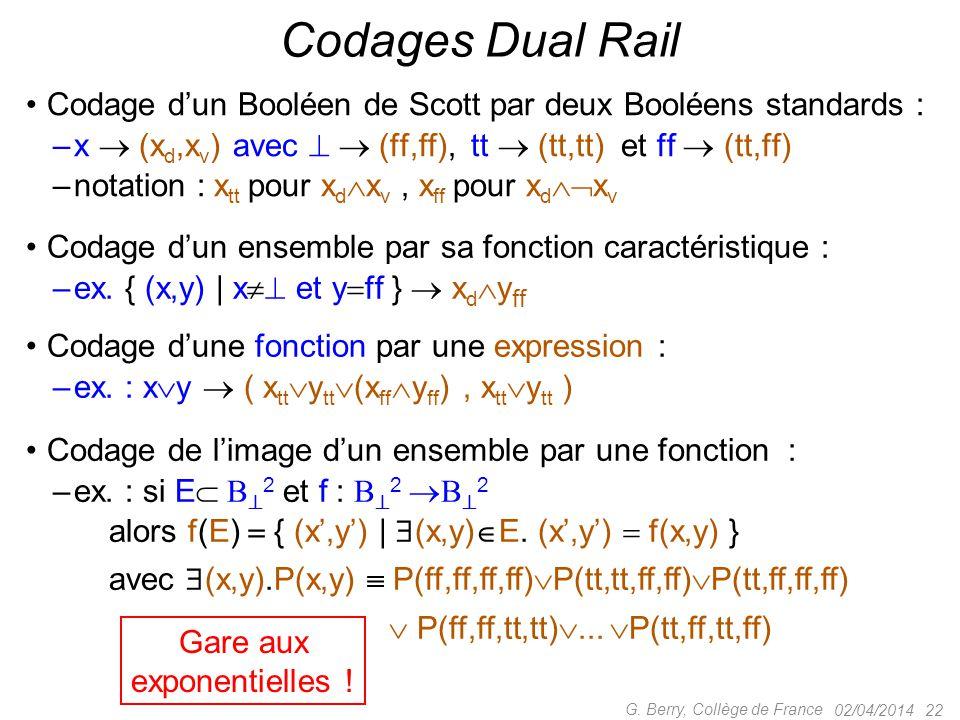 Codage d'un Booléen de Scott par deux Booléens standards : –x  (x d,x v ) avec   (ff,ff), tt  (tt,tt) et ff  (tt,ff) –notation : x tt pour x d 