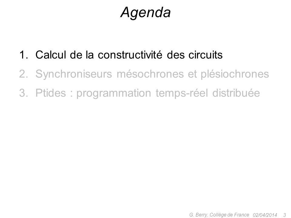 1.Calcul de la constructivité des circuits 2.Synchroniseurs mésochrones et plésiochrones 3.Ptides : programmation temps-réel distribuée 02/04/2014 3 G