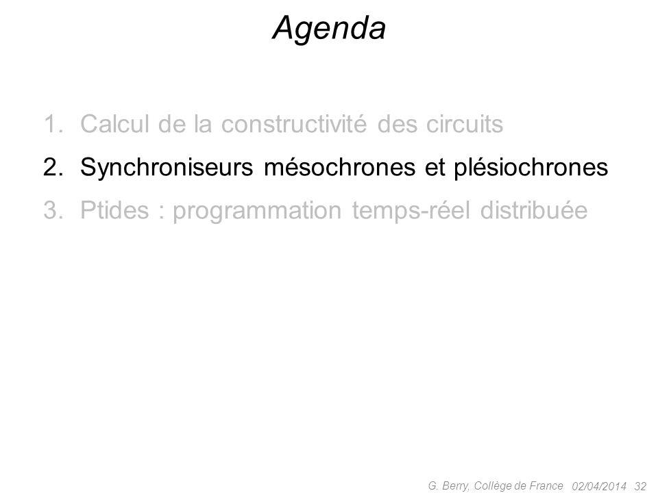 1.Calcul de la constructivité des circuits 2.Synchroniseurs mésochrones et plésiochrones 3.Ptides : programmation temps-réel distribuée 02/04/2014 32