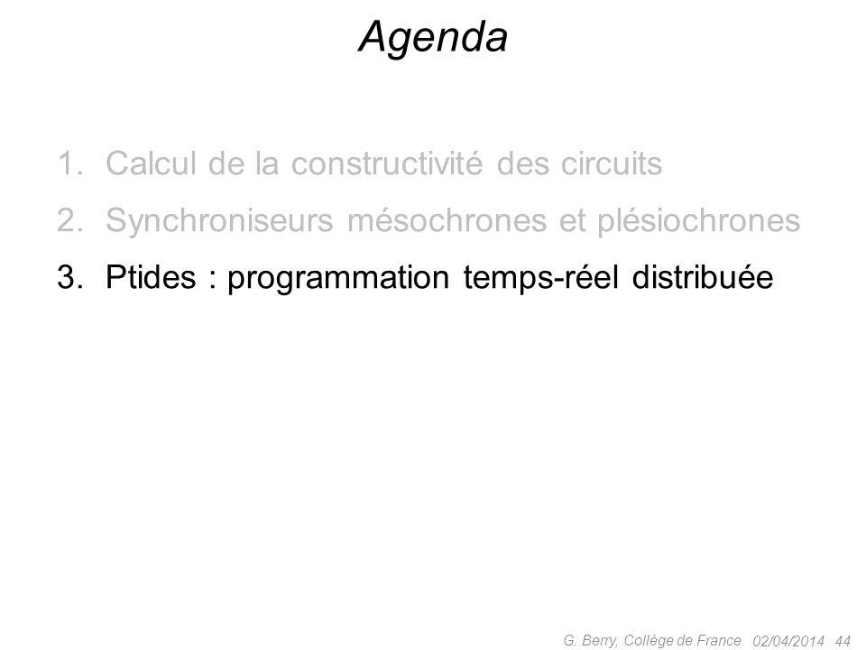 1.Calcul de la constructivité des circuits 2.Synchroniseurs mésochrones et plésiochrones 3.Ptides : programmation temps-réel distribuée 02/04/2014 44