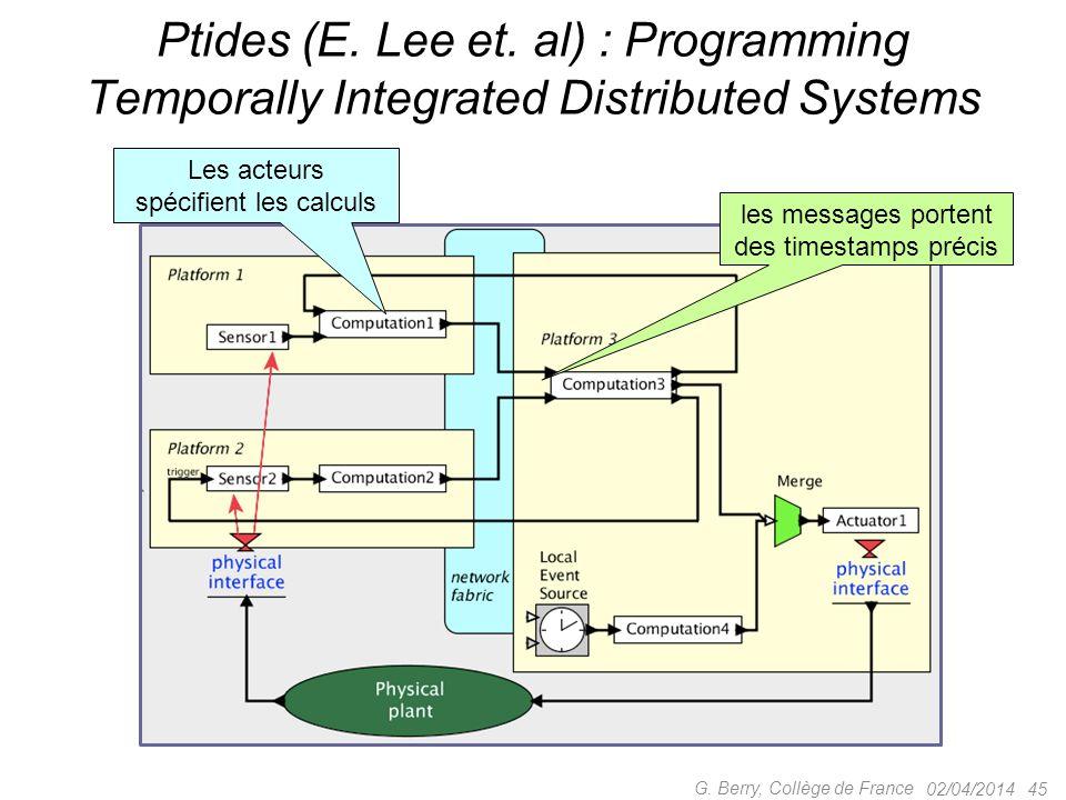 02/04/2014 45 G. Berry, Collège de France Ptides (E. Lee et. al) : Programming Temporally Integrated Distributed Systems les messages portent des time