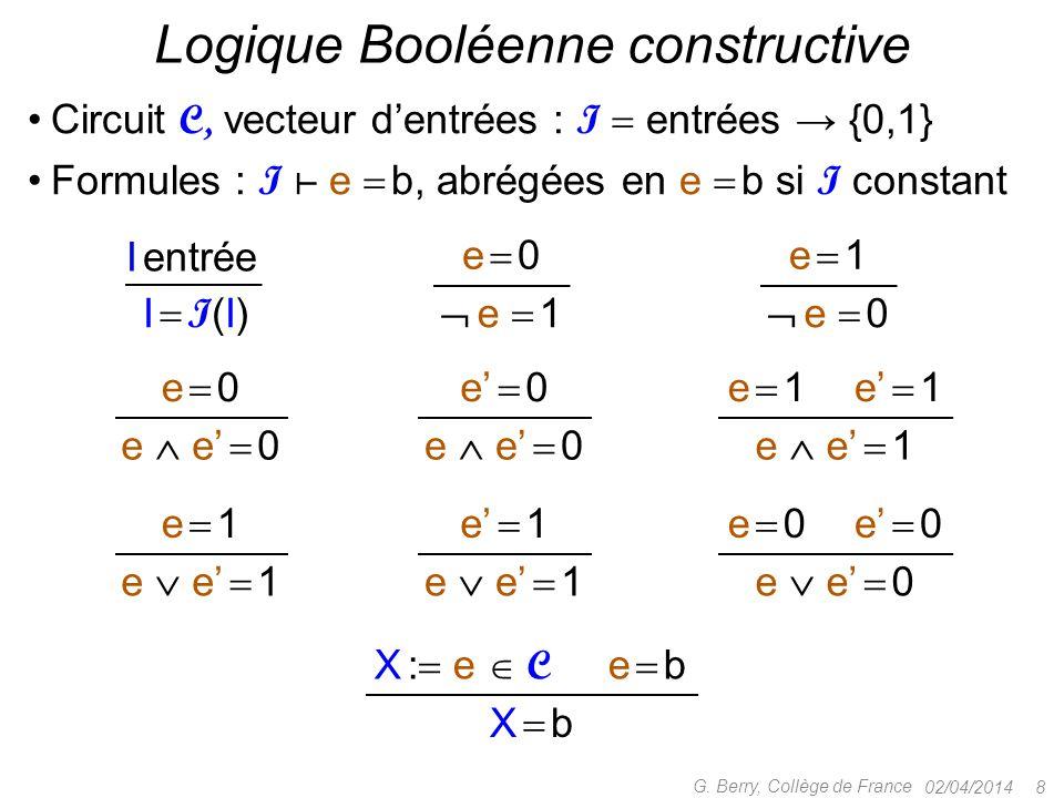 02/04/2014 8 G. Berry, Collège de France Logique Booléenne constructive e  1e  1 e  e'  1 e'  1 e  e'  1e  e'  0 e  0e  0e'  0 e  1e  1