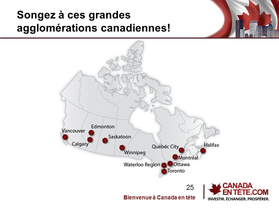 Songez à ces grandes agglomérations canadiennes! Bienvenue à Canada en tête 25
