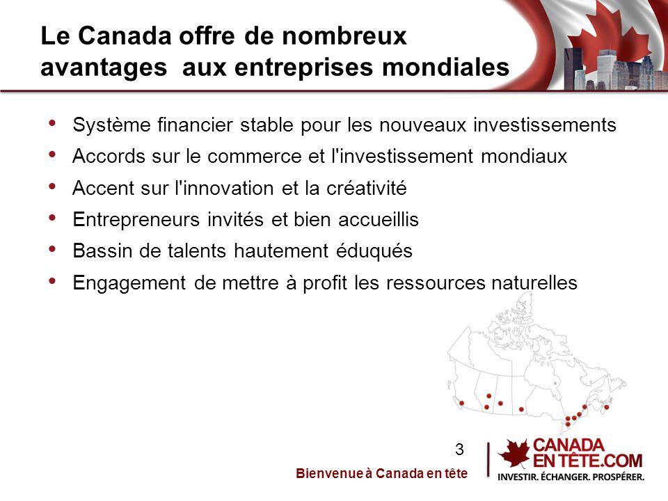 Le Canada offre de nombreux avantages aux entreprises mondiales Système financier stable pour les nouveaux investissements Accords sur le commerce et l investissement mondiaux Accent sur l innovation et la créativité Entrepreneurs invités et bien accueillis Bassin de talents hautement éduqués Engagement de mettre à profit les ressources naturelles Bienvenue à Canada en tête 3