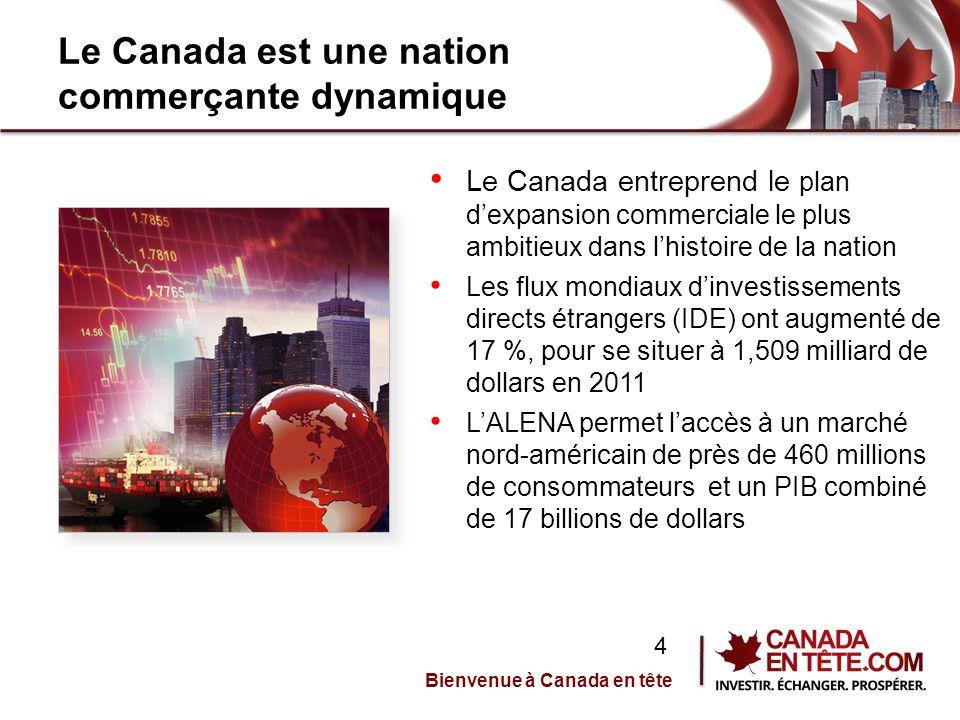 Le Canada est une nation commerçante dynamique Le Canada entreprend le plan d'expansion commerciale le plus ambitieux dans l'histoire de la nation Les flux mondiaux d'investissements directs étrangers (IDE) ont augmenté de 17 %, pour se situer à 1,509 milliard de dollars en 2011 L'ALENA permet l'accès à un marché nord-américain de près de 460 millions de consommateurs et un PIB combiné de 17 billions de dollars Bienvenue à Canada en tête 4