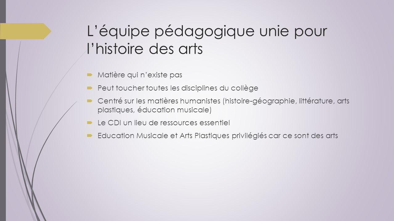 L'équipe pédagogique unie pour l'histoire des arts  Matière qui n'existe pas  Peut toucher toutes les disciplines du collège  Centré sur les matièr