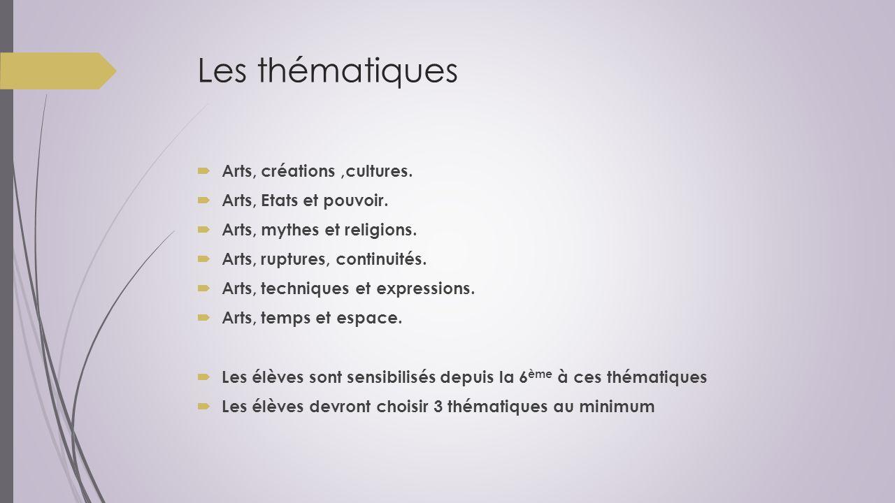 Les thématiques  Arts, créations,cultures.  Arts, Etats et pouvoir.  Arts, mythes et religions.  Arts, ruptures, continuités.  Arts, techniques e