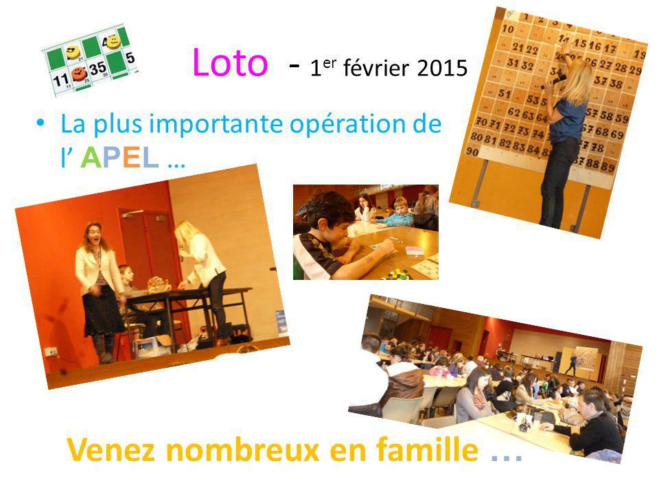 Loto - 1 er février 2015 La plus importante opération de l' APEL … Venez nombreux en famille …