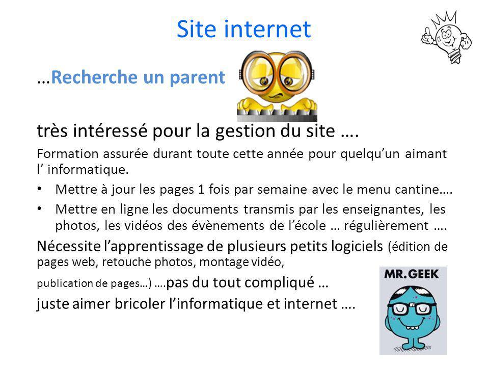 Site internet …Recherche un parent très intéressé pour la gestion du site …. Formation assurée durant toute cette année pour quelqu'un aimant l' infor