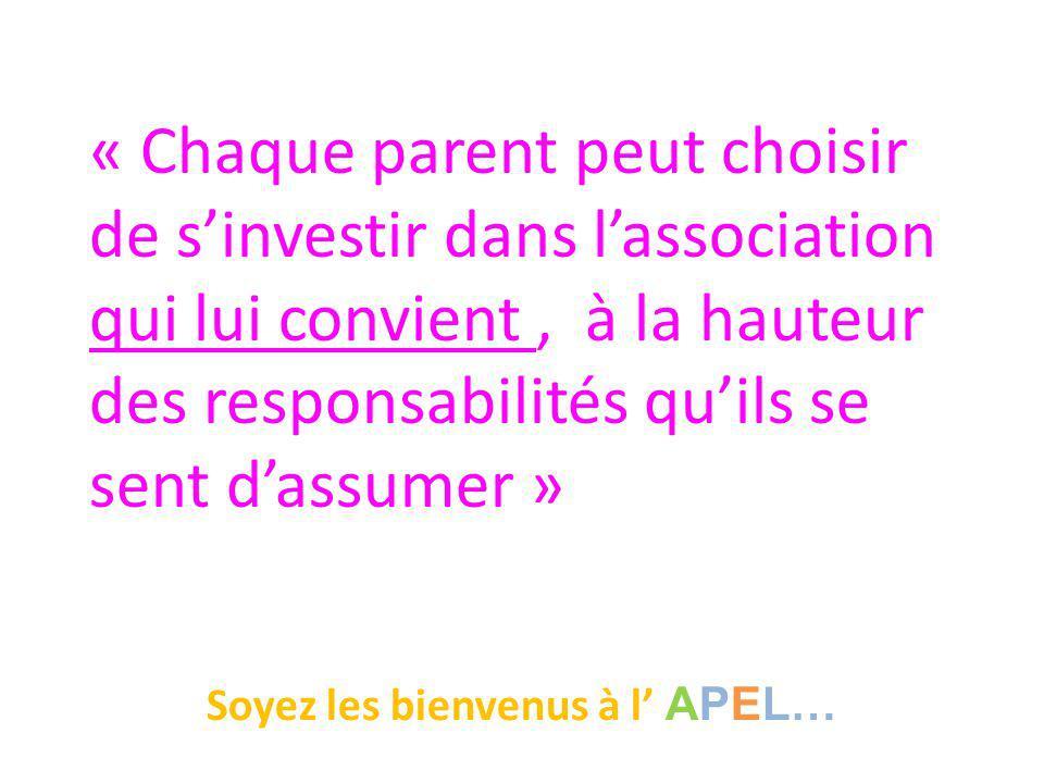 « Chaque parent peut choisir de s'investir dans l'association qui lui convient, à la hauteur des responsabilités qu'ils se sent d'assumer » Soyez les bienvenus à l' APEL…