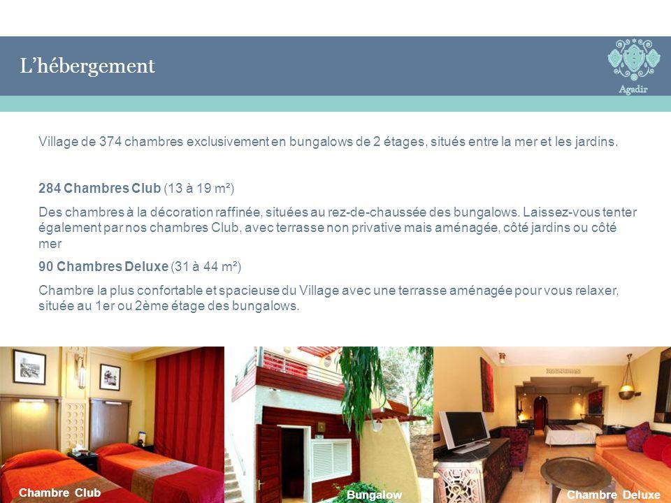 L'Hébergement L'hébergement Village de 374 chambres exclusivement en bungalows de 2 étages, situés entre la mer et les jardins. 284 Chambres Club (13